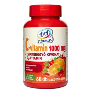 1x1 Vitamin C-vitamin 1000mg + D3 + csipkebogyó rágótabletta - 60db