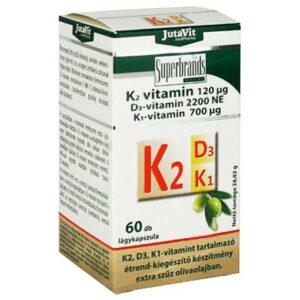 Jutavit K2+D3+K1-vitamin lágykapszula – 60db