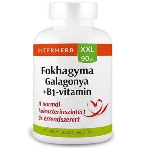 Interherb XXL galagonya, fokhagyma + B1-vitamin tabletta - 90db
