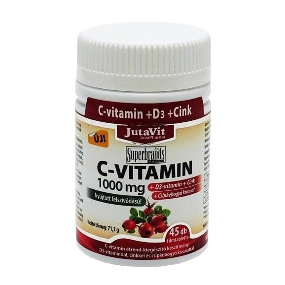 Jutavit C-vitamin 1000mg + D3-vitamin + cink tabletta – 45db