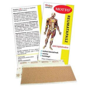 Motto fájdalomcsillapító és reumatapasz sárga – 2db 15×5 cm-es tapasz
