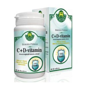 Herbária C-vitamin1000mg+D-vitamin 3000NE tabletta - 60db