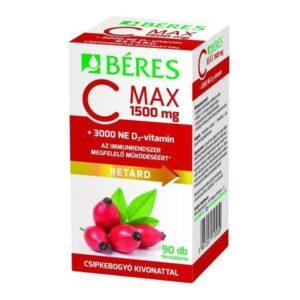 Béres C MAX 1500mg RETARD, csipkebogyó kivonattal + 3000NE D3-vitamin filmtabletta – 90db
